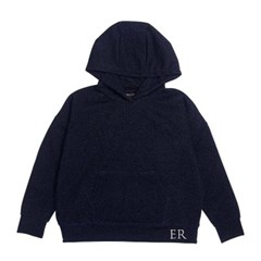 EMBROIDERED LUREX HOODIE - NAVY