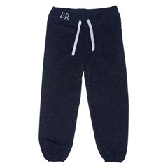 EMBROIDERED LUREX JOGGER PANTS - NAVY