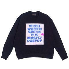 PRINTED WOMEN SPEAK SWEATSHIRT - BLACK
