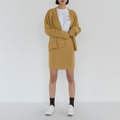 loose fit cardigan & banding skirt set