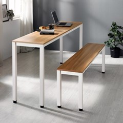 [e스마트] 스틸 테이블1200x400+벤치의자세트 (일자다리)