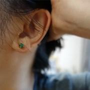 [쁘띠메이]14K GF 그린오닉스 귀걸이