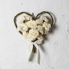 셀프 웨딩 카네이션 하트 꽃다발 크림 조화_(974552)