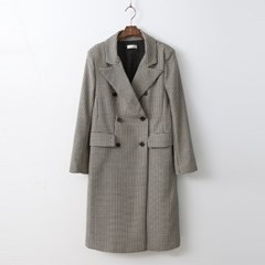 French Chic Check Long Jacket