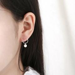 (6월 탄생석)진주 인 실버 라운드 귀걸이