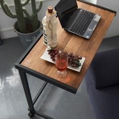 센트럴 멀바우원목 스틸 테이블 800 블랙_(1470649)