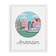 암스테르담 시티 일러스트 포스터 (액자판매)