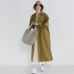 single button long trench coat