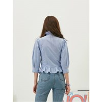Frill Collaret Blouse in Skyblue