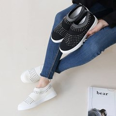 kami et muse Metal beads knit fabric slip on_KM18s091