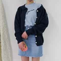 Collar button cardigan