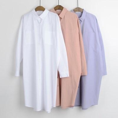 P6175 파스텔 베이직 루즈핏 코튼 롱 셔츠