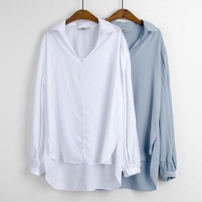 P6182 루즈핏 언발 소프트 셔츠
