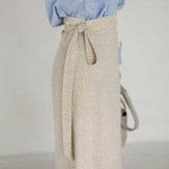 6 color linen wrap skirt