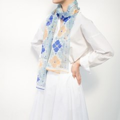 heart check silk scarf