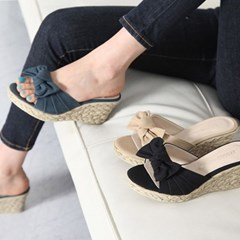 kami et muse Soft wedge ribbon slippers_KM18s114