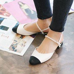 kami et muse Black toe combi flat sandals_KM18s111