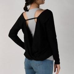 모달 슬러브 드레이프 커버 티셔츠 DFW5012 블랙