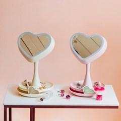 [라쏨] LED 조명 화장 거울 하트미러(핑크/아이보리)