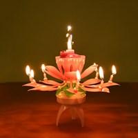 연꽃초 회전하는 멜로디 촛불 스마일촛불 생일파티 기념일 멜로디 초