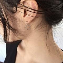 thin twin circle earrings (2colors)