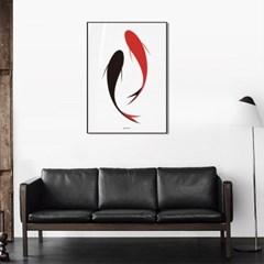 유니크 인테리어 디자인 포스터 M 조화 물고기 동식물포스터