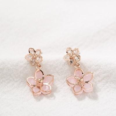 핑크 벚꽃 드롭 귀걸이
