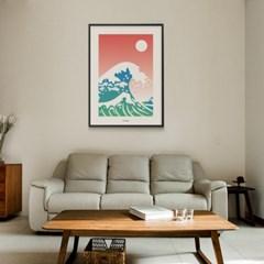일본 유니크 인테리어 디자인 포스터 M 호쿠사이 파도 일본소품