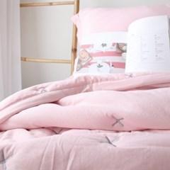 크로스 스티치 베딩세트 핑크