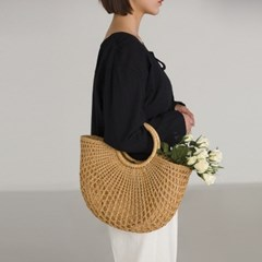 loose structure half moon rattan bag