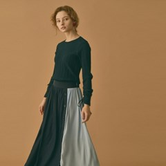 Color Block Long Skirt (2color)