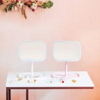 [라쏨] 조명 메이크업 거울 스퀘어미러 (핑크/화이트)