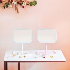 [라쏨] LED 조명 화장 거울 스퀘어미러(핑크/화이트)