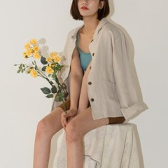 loose fit collar detail linen jacket