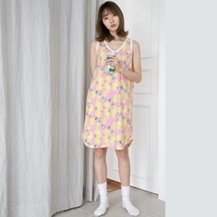 [w] Pink Lemon Sleeveless Waffle One-piece
