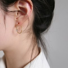 cubic chain ring earrings (2colors)