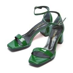 modern square sandal green_5cm (소가죽)