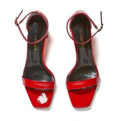 modern square sandal red_5cm (소가죽)