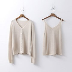 [Set] Sea Sleeveless Knit + Knit Cardigan