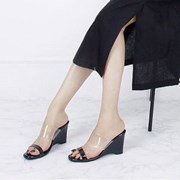kami et muse Wide clear strap wedge heel slippers_KM18s182