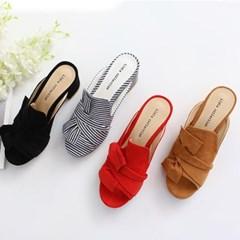 kami et muse Tied ribbon toe open heel slippers_KM18s191