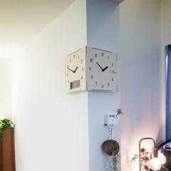 캘린더 코너 양면벽시계