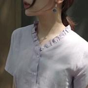 넥 포인트 반팔 블라우스 (2color)