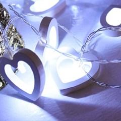 LED 20P 우드하트 건전지(밧데리)전구 가랜드 [백색]