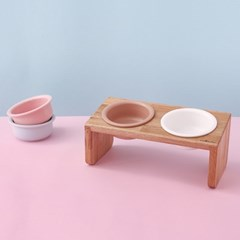 [반달펫] 반려동물 원목식탁 도자기 세트(미디움2구)