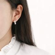 진주 화이트 사각 귀걸이