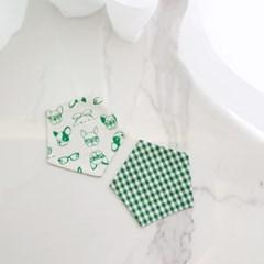 {펜타곤양면코스터}그린체크&퍼피 coaster 컵받침