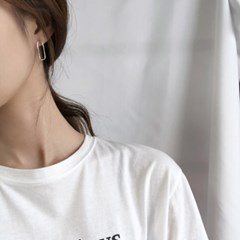 Round square earring (실버 사각 귀걸이) [92.5 silver]