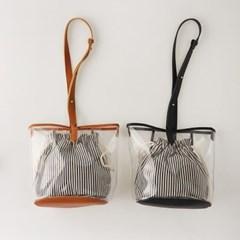 3 button stripe pouch pvc bag