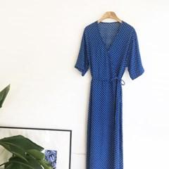 Dot Wrap long DRESS (2-color)